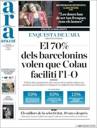 Vés a: «El 70% dels barcelonins volen que Colau faciliti l'1-O», a la portada de l'«Ara»