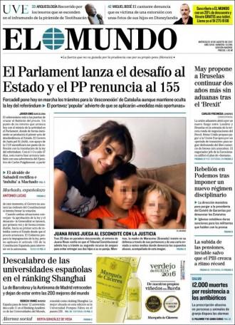 Vés a: «El Parlament lanza el desafío al Estado y el PP renuncia al 155», a la portada d'«El Mundo»