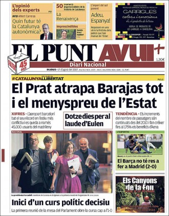 Vés a: «El Prat atrapa Barajas tot i el menyspreu de l'Estat», a la portada d'«El Punt Avui»