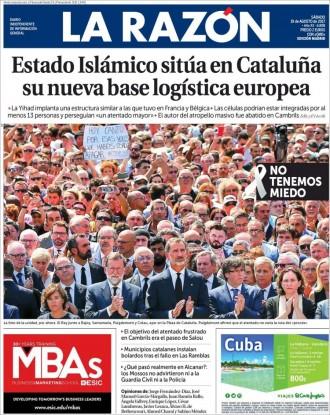 Vés a: El clam unànime «No tinc por» de Barcelona omple les portades