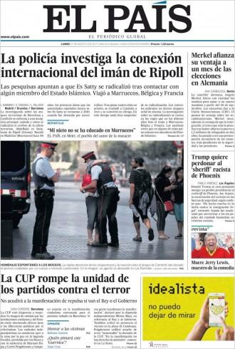 Vés a: PORTADES «La CUP rompe la unidad de los partidos contra el terror», a «El País»