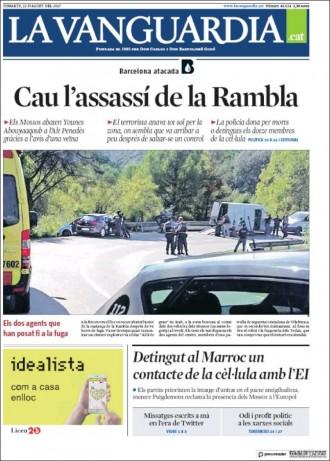 Vés a: PORTADES La mort de l'autor de l'atemptat a Barcelona, als diaris espanyols i catalans