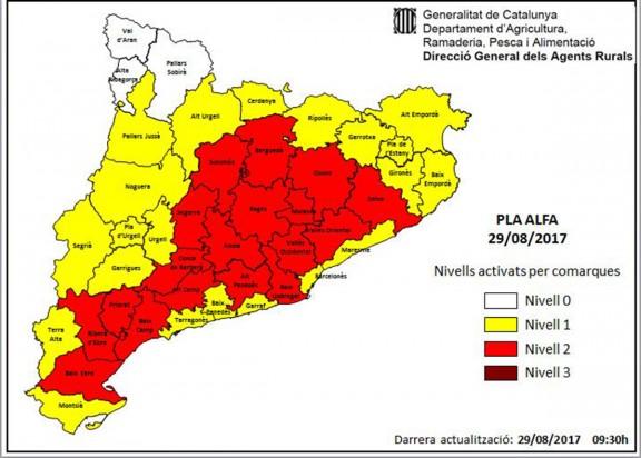 MAPA Alt risc d'incendis forestals en una vintena de comarques