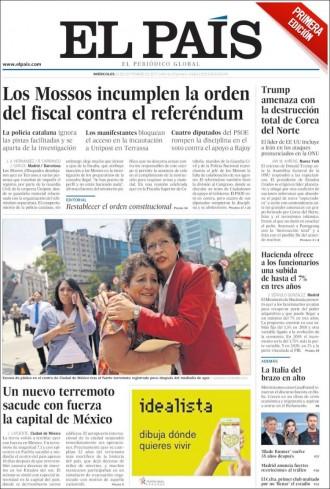 Vés a: PORTADES «Los Mossos incumplen la orden del fiscal contra el referéndum», a «El País»