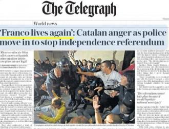 «Franco lives again»: «The Telegraph» es fa ressò de la repressió a Catalunya