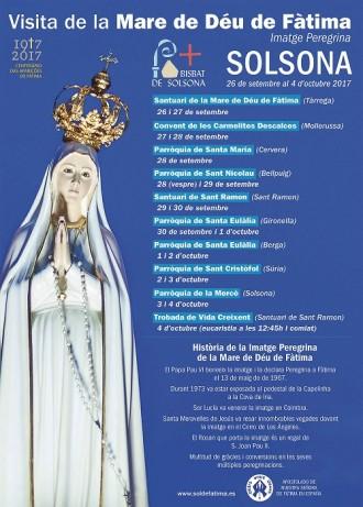 La imatge pelegrina de la Mare de Déu de Fàtima visitarà Solsona el 3 i 4 d'octubre