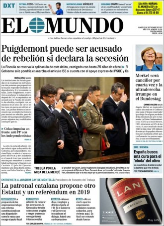 Vés a: PORTADES «Puigdemont puede ser acusado de rebelión si declara la secesión», a «El Mundo»