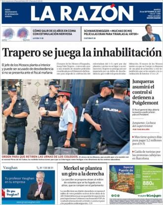 Vés a: PORTADES «Trapero se juega la inhabilitación», a «La Razón»
