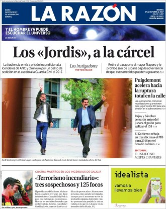 Vés a: PORTADES La premsa espanyola aplaudeix la detenció dels «Jordis»