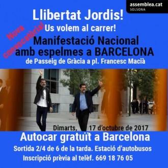 L'ANC de Solsona posa autocars gratuïts per baixar aquest dimarts a Barcelona
