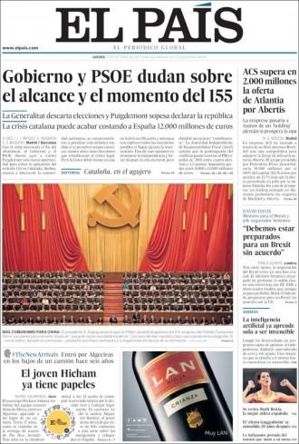 Vés a: PORTADES L'aplicació de l'article 155 genera dubtes a la premsa espanyola