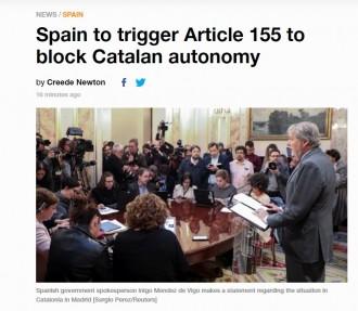 Vés a:  «El govern espanyol preparat per bloquejar l'autonomia de Catalunya», a la premsa internacional