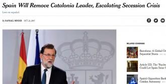 Vés a: Rajoy agreuja el conflicte amb el 155, destaca la premsa internacional