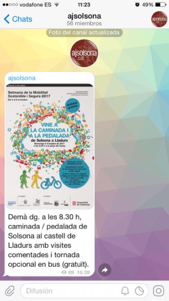 L'Ajuntament de Solsona obre un canal a Telegram per ampliar les vies de comunicació amb la ciutadania