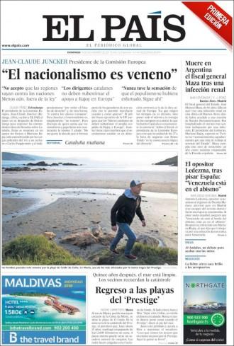 Vés a: PORTADES «El nacionalismo es veneno», diu Juncker a «El País»