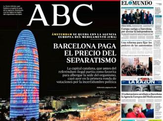 Vés a: PORTADES La premsa espanyola carrega contra l'independentisme per l'Agència del Medicament