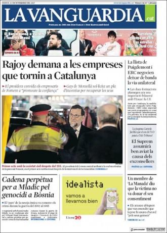 Vés a: PORTADES «Rajoy demana a les empreses que tornin a Catalunya», a «La Vanguardia»