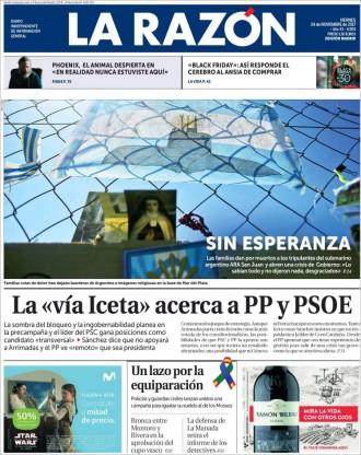 Vés a: PORTADES «La 'via Iceta' acerca PP y PSOE», a «La Razón»