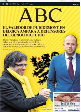 Vés a: PORTADES «El valedor de Puigdemont en Bélgica ampara a defensores del genocidio judío», a l'«ABC»