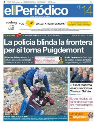 Vés a: PORTADES «La policia blinda la frontera per si torna Puigdemont», a «El Periódico»