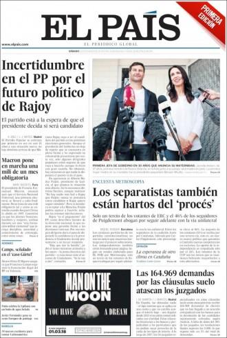 Vés a: PORTADES «Los separatistas también están hartos del 'procés'», a «El País»