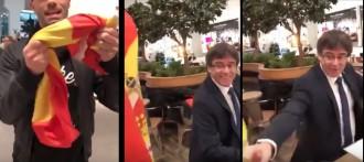 Vés a: VÍDEO Un individu provoca Puigdemont i l'insta a fer un petó a la bandera espanyola