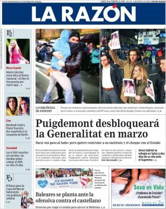 Vés a: «Puigdemont desbloqueará la Generalitat en marzo», a la portada de «La Razón»