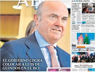 Vés a: PORTADES La premsa espanyola celebra la designació de De Guindos al BCE