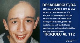Vés a: Busquen un nen de 13 anys desaparegut des d'aquest dilluns a Barcelona
