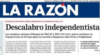Vés a: PORTADES «Descalabro independentista», a «La Razón»