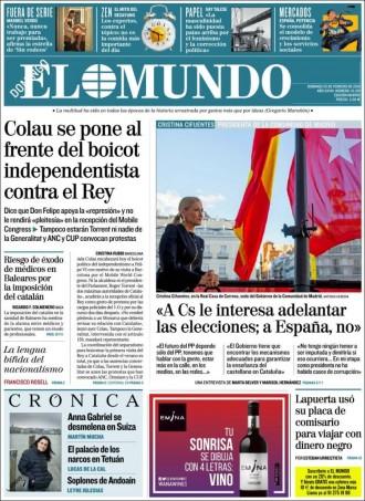 Vés a: La premsa de Madrid assenyala Colau i Torrent per plantar Felip VI al Mobile