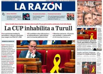 Vés a: PORTADES «La CUP inhabilita Turull», a «La Razón»