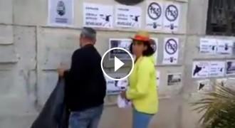 Vés a: VÍDEO Una senadora de Cs arrenca cartells del CDR amb un neonazi