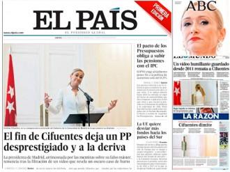 Vés a: PORTADES «El fin de Cifuentes deja un PP desprestigiado y a la deriva», a «El País»