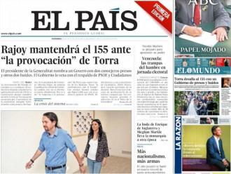 Vés a: PORTADES «Rajoy mantendrá el 155 ante la 'provocación' de Torra»
