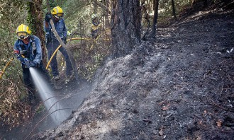Set dotacions terrestres i un helicòpter segueixen a la zona de l'incendi de l'Empordà