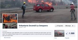 Una pàgina de Facebook informa als voluntaris de l'incendi