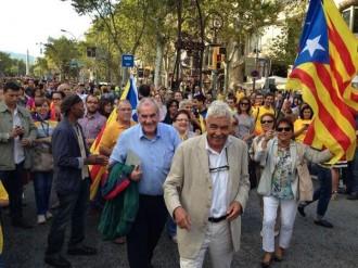 Pasqual Maragall rebut amb crits de «President», a la Via Catalana