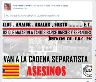 Un regidor del PP titlla d'«assassins» els assistents a la Via Catalana