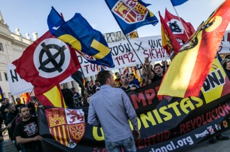 FOTOS Les manifestacions del 12 d'Octubre, en imatges