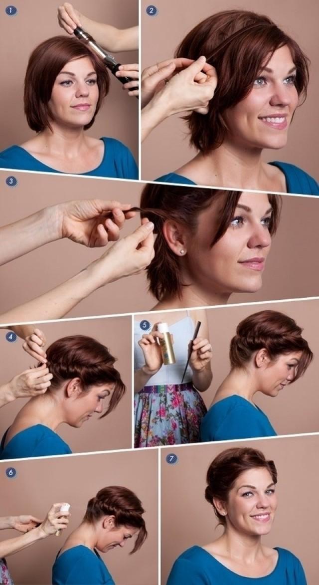 Прически своими руками на волосы до плеч с челкой фото