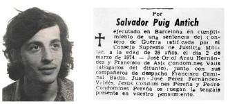 6 de març de 1974: manifestació a Vic contra l'execució de Puig Antich