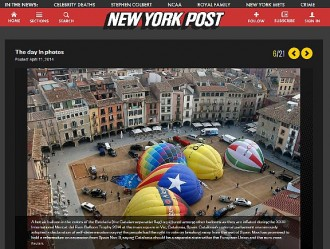 El globus de l'estelada de Vic, protagonista al «The New York Post»