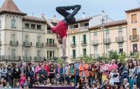 Circ i estatutes humanes omplen la plaça de Manlleu
