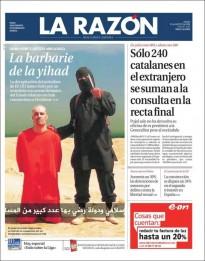 «Sólo 240 catalanes en el extranjero se suman a la consulta en la recta final» a la portada de «La Razón»
