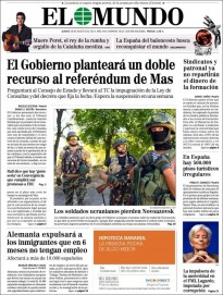 «El Gobierno planteará un doble recurso al referéndum de Mas», a la portada d'«El Mundo»