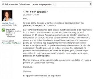 La web TripAdvisor torna prohibir el català als usuaris