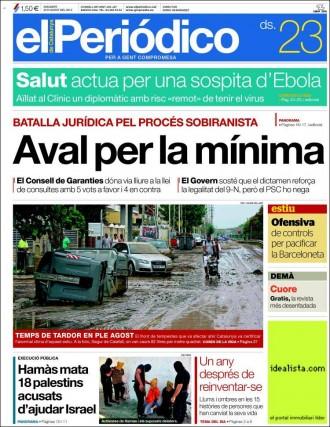 Vés a: «Temps de tardor en ple agost» a la portada d'«El Periódico»
