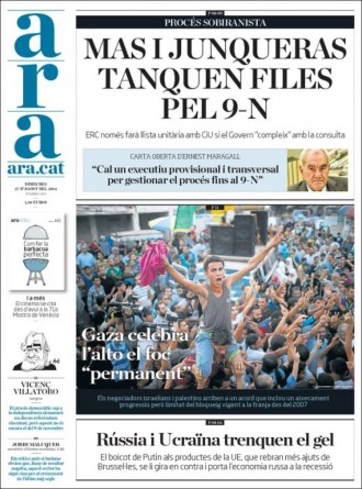 «Mas i Junqueras tanquen files pel 9-N», a la portada de l'«Ara»
