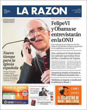 «Mas celebrará la Diada donde los radicales quemaban fotos del Rey y banderas de España», a la portada de «La Razón»